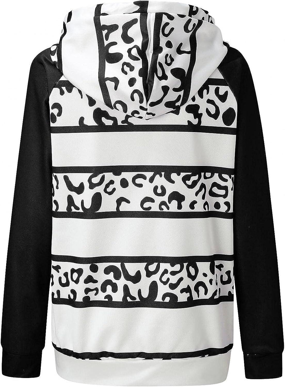 COMVALUE Womens Hoodies,Casual Zipper Leopard Print Long Sleeve Lightweight Striped Pullover Sweatshirts