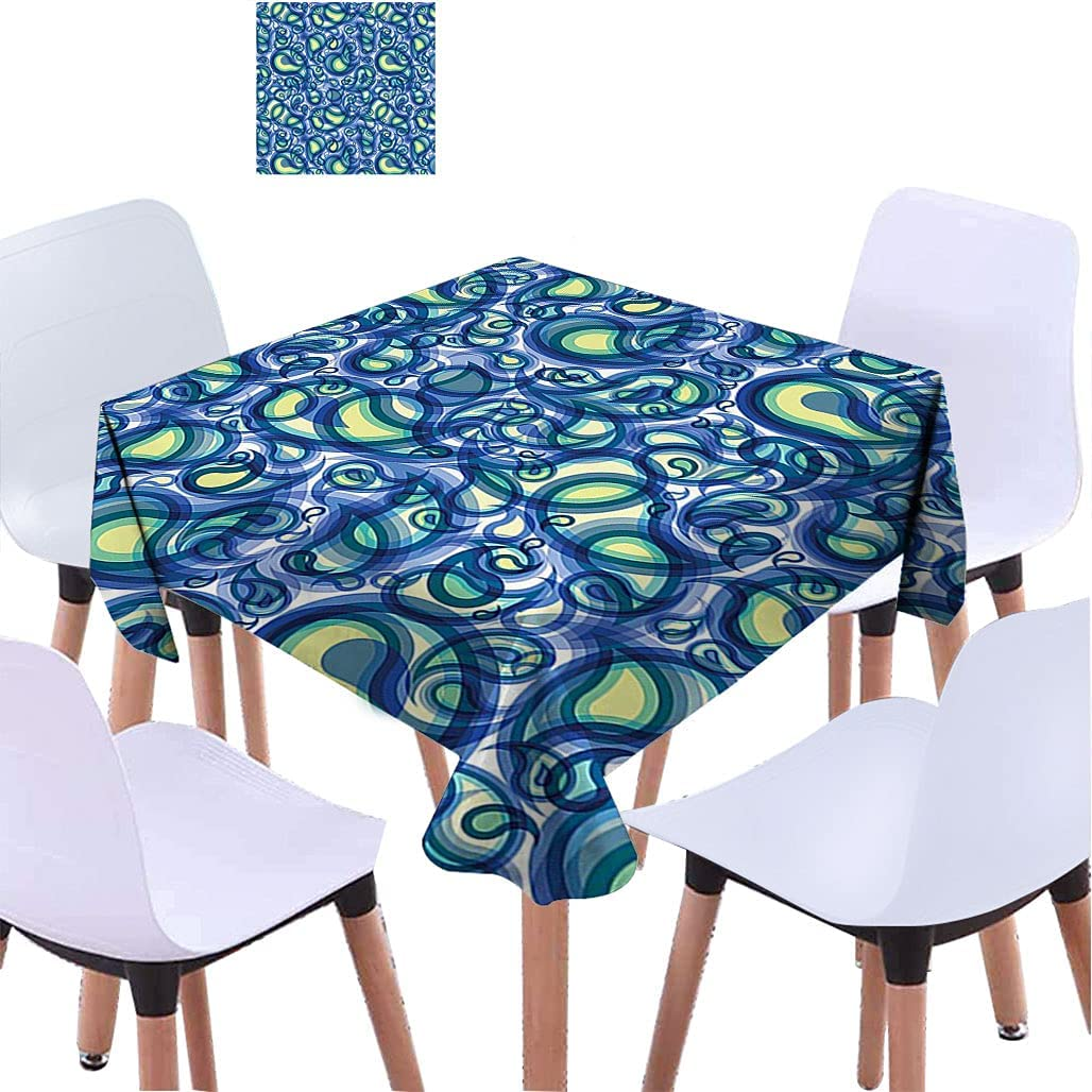 Popular overseas Paisley Decor Square Tablecloth Ocean Like with Waves Design Financial sales sale Bi