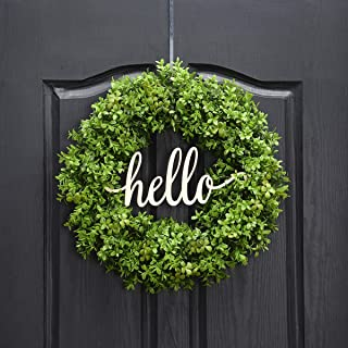 QUNWREATH Handmade 18 inch Handmade Grass Series Wreath,Gifts Package,Green Grass,Hello Letter,Wreath for Front Door,Rustic Wreath,Farmhouse Grapevine Wreath,Light up Wreath,Everyday Wreath,QUNW18