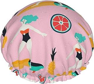 Dwuwarstwowa czapka prysznicowa, ilustracja pokazuje dziewczynę, która podziwia gwiaździste niebo, wodoodporne elastyczne ...