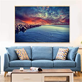 Framed Canvas Wall Art For Living Room Bedroom,Beach Home Decor Wall Art Pictures Sunset Landscape Waterfront Nature Canva...