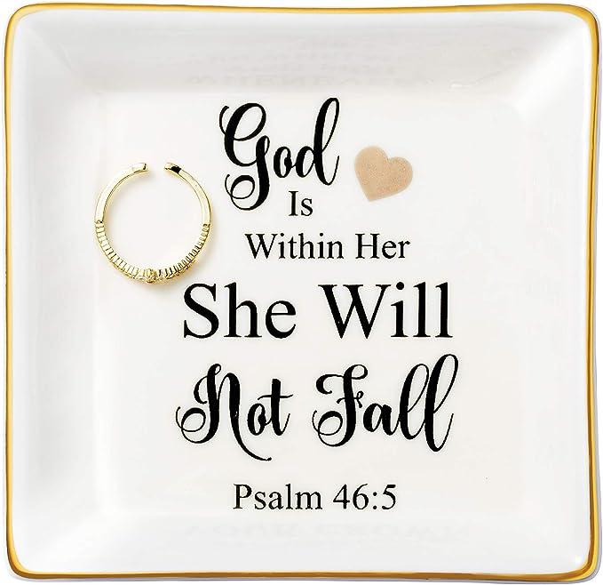 JoycuFF Religious Gifts for Women Inspirational Christian Jewelry Trinket Dish