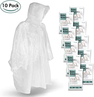 TORASO Rain Ponchos for Adults Disposable - Clear Poncho with Hood for Men, Women and Teens - Waterproof Emergency kit - One Size Fits All - for Concerts, Disneyland, Outdoors, Hiking, Camping