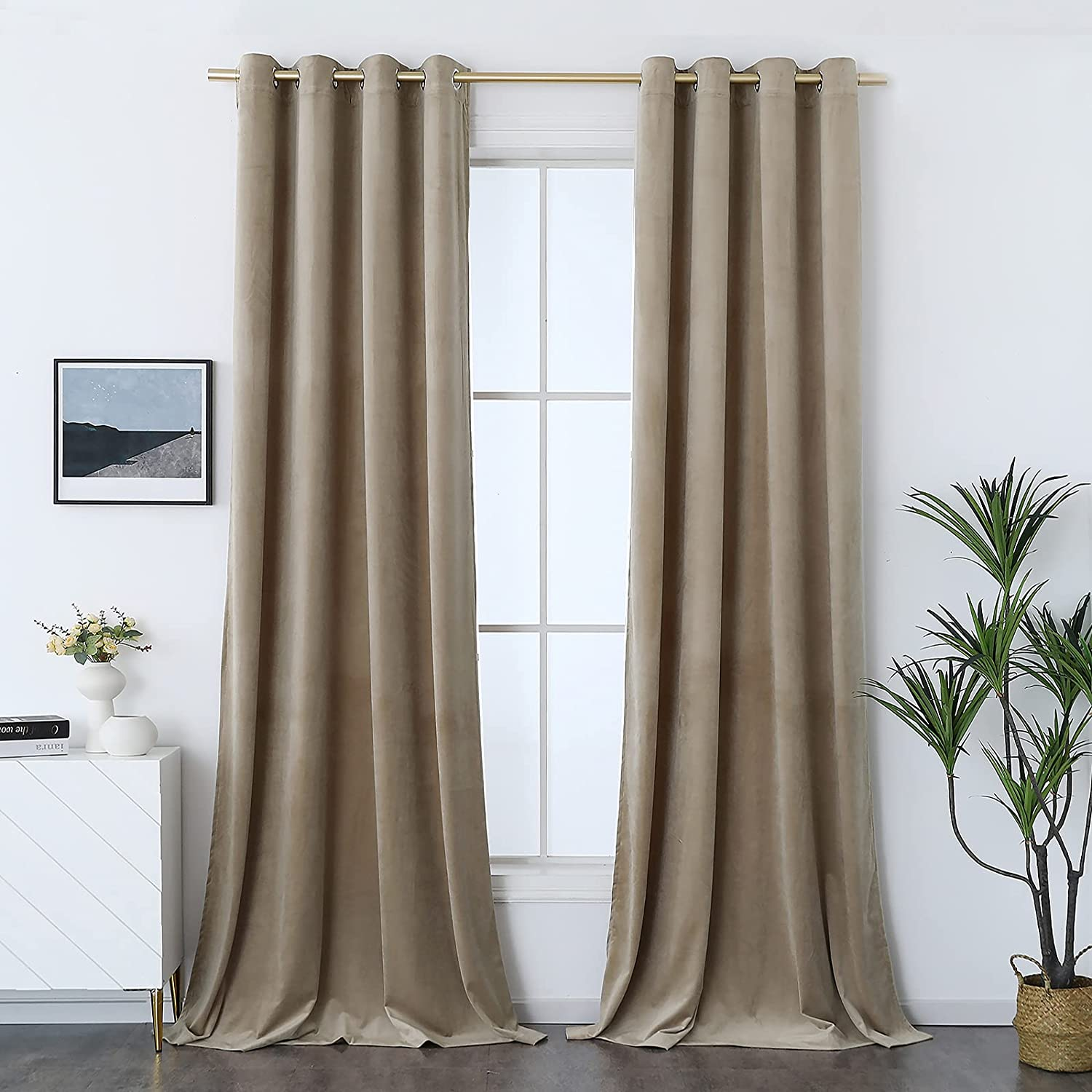 Timeper Room Darkening Curtain Panels - Luxury Decor Taupe Velvet Curtains with Grommet, Extra Long Privacy Assured for Home Office / Dining / Hall, Taupe, W52 x L108, 2 Panels