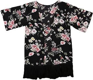 016195f43258ed Baby Girl Floral Print Jacket Tassel Chiffon Kimono Cardigan Cover up  Blouse Summer Coat Clothes