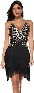 meilun Women's Sequin Tassel Mini Dress Party Bodycon Club Night Wear Dress