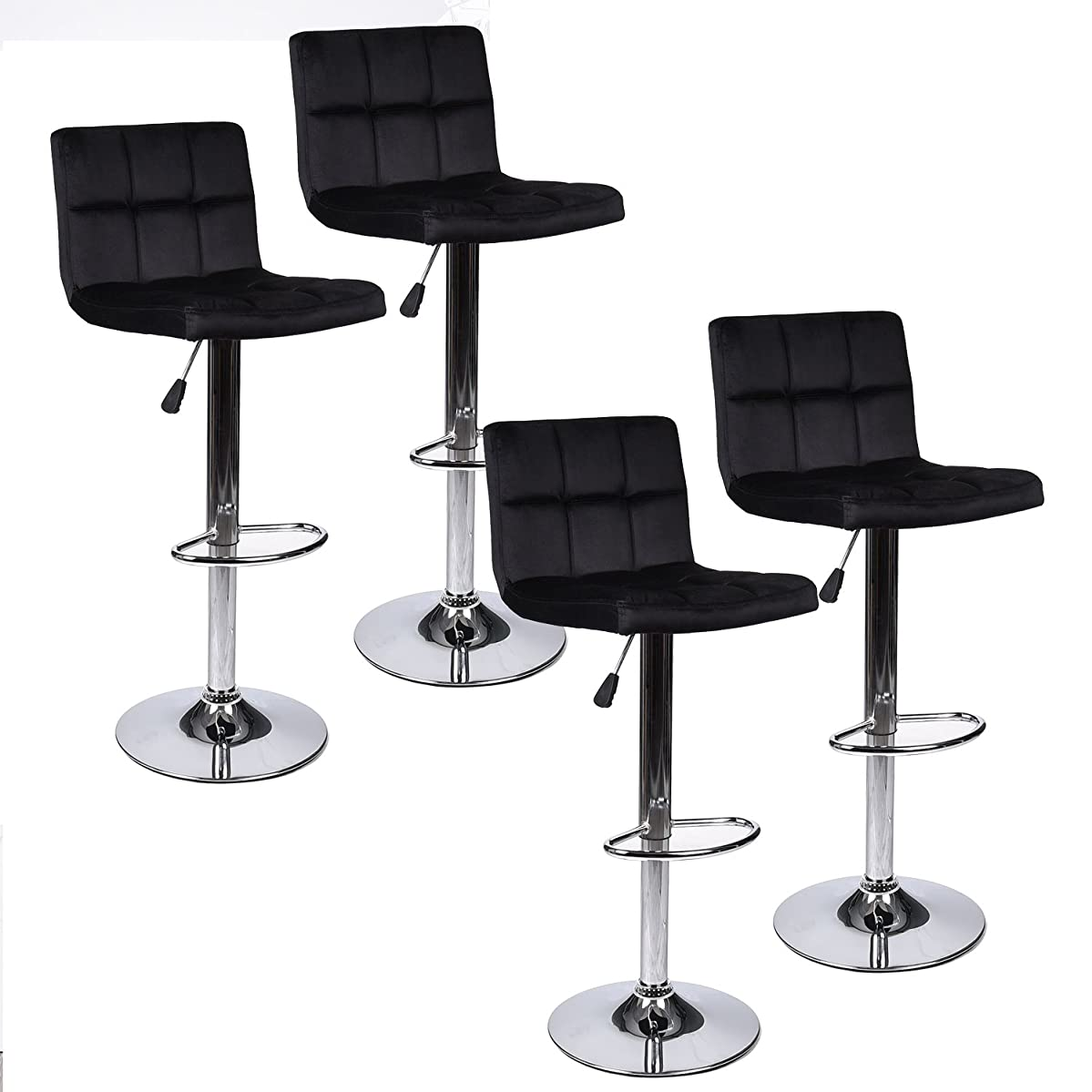 Mid - Back Square Fabric Bar Stools, 360 Degree Swivel Adjustable Hydraulic Counted Height Dining Chairs with Chrome Base, Set of 4 (Black 2)