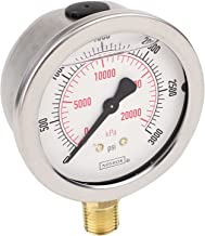 """NOSHOK 900 Series Stainless Steel Liquid Filled Dual Scale Dial Indicating Pressure Gauge with Bottom Mount, 2-1/2"""" Dial, +/-1.5% Accuracy, 0-3000 psi Pressure Range"""