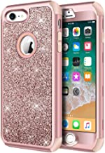 iPhone 8 Case, iPhone 7 Case, Hython Heavy Duty Full-Body Defender Protective Case Bling Glitter Sparkle Hard Shell Armor Hybrid Shockproof Rubber Bumper Cover for iPhone 7 and iPhone 8, Rose Gold