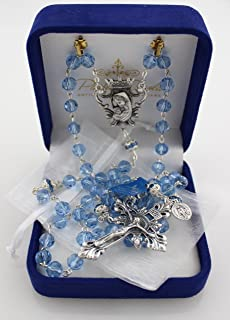 8mm Diamond-Cut Sapphire Crystal Bead Rosary (designed by Paola Carola) with Miraculous Medal dangle and White Organza Bag in Deluxe Rosary Gift Box