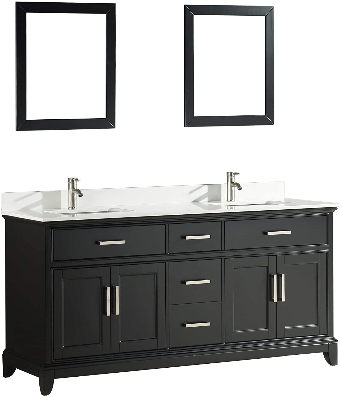 Vanity Art 72 Inches Double Sinks Bathroom Vanity Set White Super Phoenix Stone Top 5 Dove Tailed Drawers 2 Shelves Undermount Rectangle Sink Cabinet With Two Free Mirrors Va1072 De Amazon Com