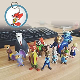 Zootopia Mystery Mini Figure Set of 12 Judy Nick Characters 4-8cm PVC Action Figures Playset with 1 Lovely Nick PU Cotton Keychain