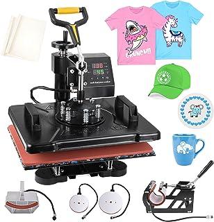 PNKKODW Máquina de prensa de calor Pro 5 en 1 de 12 x 15 pulgadas de 360 grados de sublimación digital multifunción combo ...