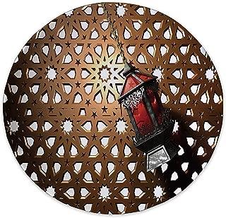 Lantern Ceramic Decorative Plate,Egyptian Fanoos in a 3D Style Realistic Illustration Moroccan Backdrop Design Decorative for Home Decorative,6 inch