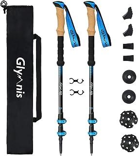 comprar comparacion Glymnis Bastones de Senderismo Telescópicos Bastones Trekking Plegables 2pcs Ajustable 65cm~135cm de Aleación de Aluminio ...