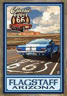 Northwest Art Mall Flagstaff, Arizona Route 66 Mustang Metal Print on Reclaimed Barn Wood by Paul A. Lanquist (24