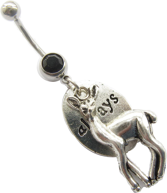 Always, Deer, Heart Belly Ring Piercing. Body Piercing.Hippie Navel Ring Piercing