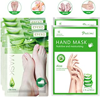3 Pairs Foot Peel Mask & 2 Pairs Hand Moisturizing Gloves, Natural Aloe Extract, Make Your Feet and Hand Baby Soft, Remove...