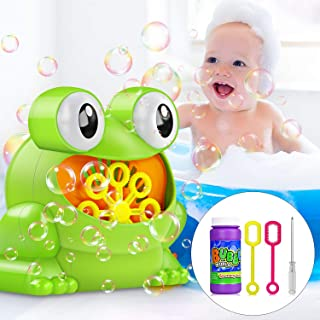 Bubble Machine, Automatic Bubble Maker Blower with A Bottle of Bubble Solution Over 500 Bubbles per Minute Bubble Machines Toy for Kids Toddlers Bath Parties Wedding (Frog)