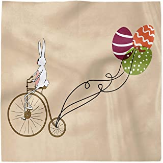 Ambesonne Easter Decorative Satin Napkins Set of 4, Bunny on Retro Bike with Easter Egg Shaped Colorful Balloons Cartoon Print, Square Printed Fabric Party & Dinner Napkin, 18
