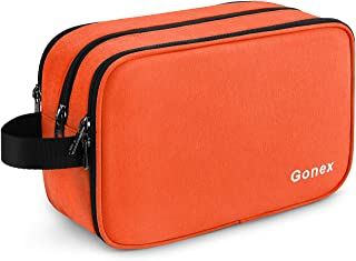 Gonex Travel Toiletry Bag for Men and Women Dry Wet Separated Dopp Kit Shaving Bag Cosmetic Makeup Organizer Large Business Overnight Trip Daily Organizer with YKK Zippers, Orange