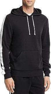 Alternative New Black White Sleeve Striped Fleece Lined Hoodie Sweater Size M