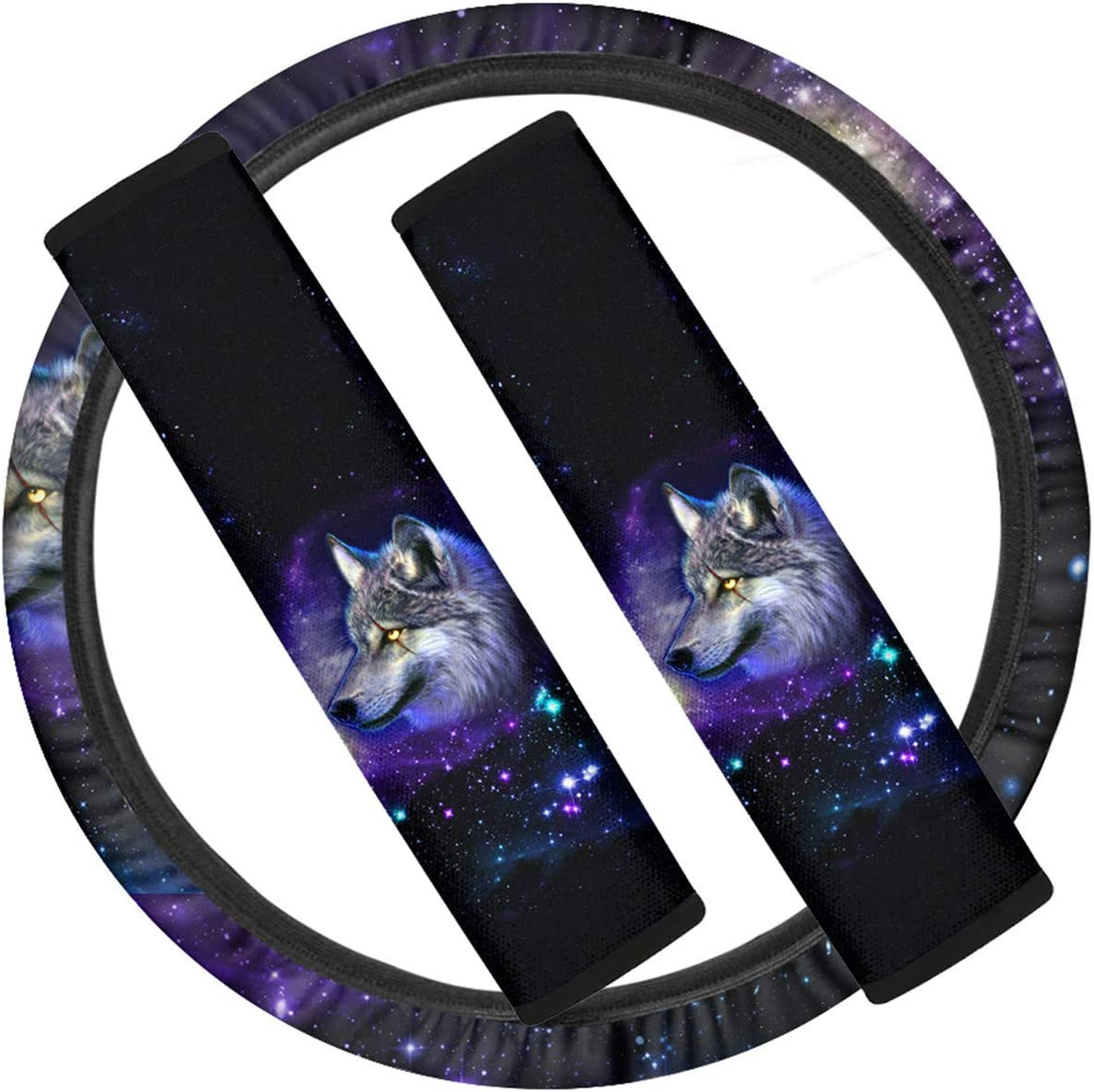 2 Pcs Safety Seat Belt Pads Automotive Wheel Wrap Protection Neoprene Stretch-on Shoulder Strap Pads Cover Black White Coloranimal Dogs Paws Print Universal Car Steering Wheel Accessories