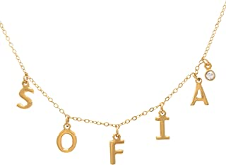 Collar de Iniciales Nombre Personalizable - Chapa Oro 22k - Elegantia Jewelry