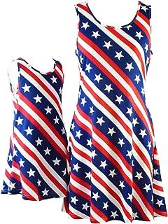 Áo quần dành cho bé gái – American Flag 4th of July Mommy and Me Matching Sleeveless T-Shirt Dresses with Pockets
