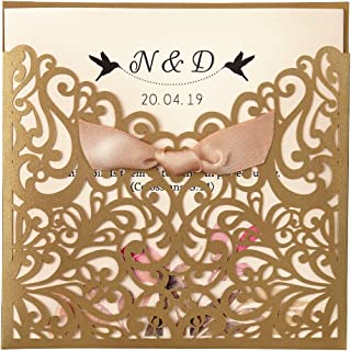 Dream Built 50pc Wedding Invitations Wedding invites Invitations Cards Wedding Invitations kit Vertical Square Gold Laser Cut Wedding Invitation with Beige Ribbon,CW5011(Gold)