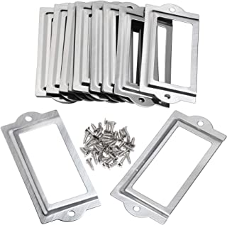 BCP 20pcs 80 x 35mm Silver Color Metal Office File Cabinet Shelves Drawer Name Card Label Holder Frames with Screws