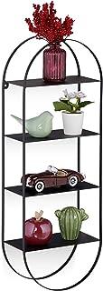 Relaxdays Etagère Rurale en métal, 4 étages, ovales, étagère Suspendue pour entrée, Salon et Chambre à Coucher HlP 66,5