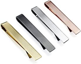 HAWSON Tie Clip-Skinny Tie Bar for Mens 4Pcs Tie Clips Suitable for Wedding Anniversary Business and Daily Life Come with a Black Gift Box