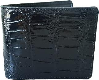 Authentic M Crocodile Skin Men's Bifold Belly Leather Wallet (Black)