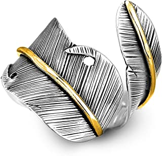 925 Sterling Silver and Brass Leaf Adjustable Ring for Women, Cool Plain Simple Open Wrap Feather Ring Size 7-10