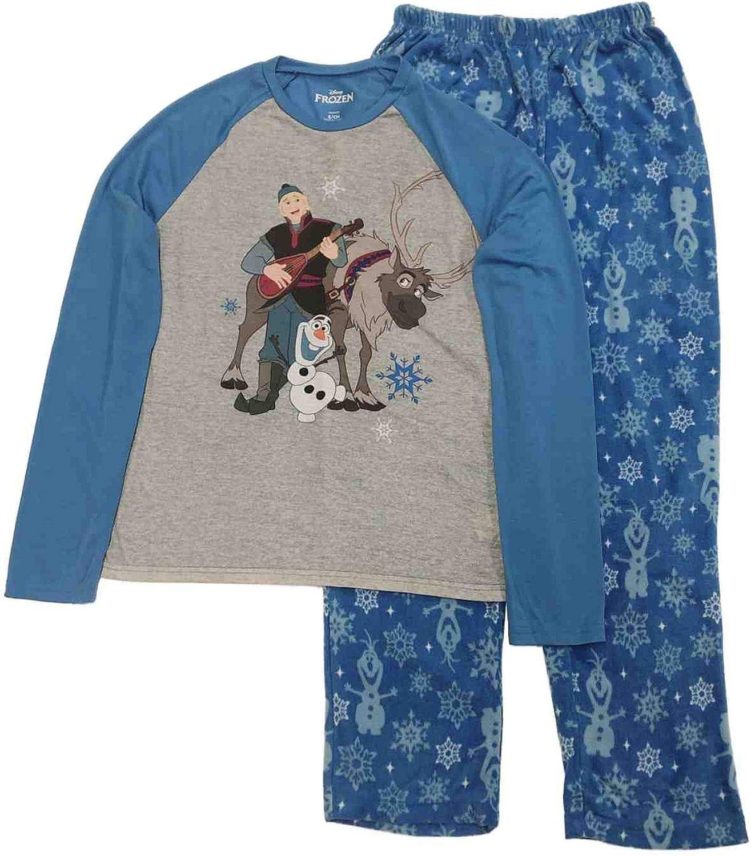 Disney Frozen Mens Kristoff Olaf Sven Long Sleeve Sleepwear Pajama Set
