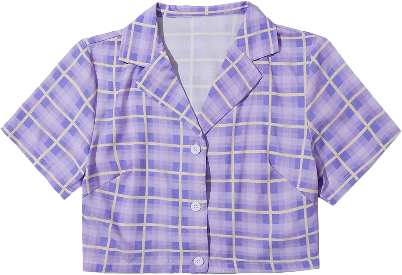Milumia Women's Plaid Button Down Collared Crop Top Blouse Short Sleeve Tartan Shirt