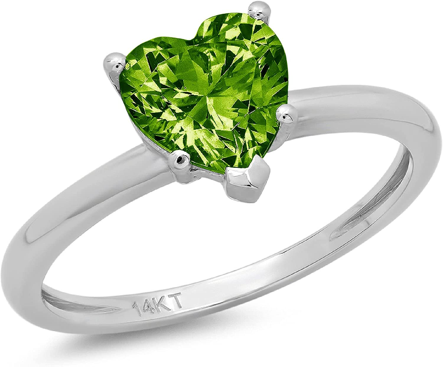 0.9ct Brilliant Heart Cut Solitaire Genuine Natural Vivid Green Peridot Ideal VVS1 5-Prong Engagement Wedding Bridal Promise Anniversary Ring Solid 14k White Gold for Women