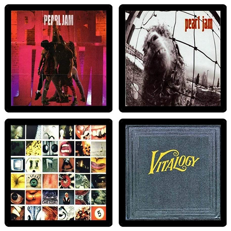 Handmade by Senor Swag ~ Pearl Jam Collectible Coaster Gift Set #1- (4) Different Images Reproduced Onto Soft Coasters