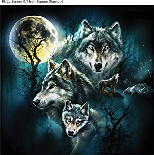 5D DIY Diamond Painting Beading Kits Full Square Drill Rhinestone Embroidery Pictures Arts Cross Stitch Craft Pasted for Home Wall Decor Adults Beginner (Wolf, 13.7x13.7 inches)