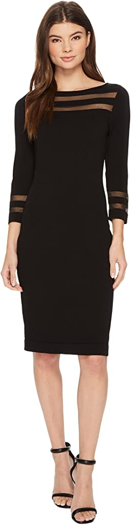 Calvin Klein - 3/4 Sleeeve Illusion Detail Sheath Sweater Dress CD7W178N