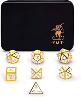 Yellow Mountain Imports Collector`s 7 Gold on White Metal Dice Set with Storage Case, Calacatta - D4, D6, D8, D10, D%, D12, and D20