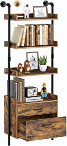 """Rolanstar Industrial Bookshelf with 2 Wood Drawers, Wall Mounted 4-Tier Bookcase with Stable Metal Frame, Display Storage Rack with Shelf for Living Room, 61.7"""" Retro Accent Furniture, Rustic Brown"""