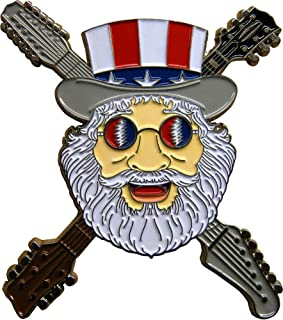 Jerry Garcia - Patriotic Cartoon Face - Enamel Pin