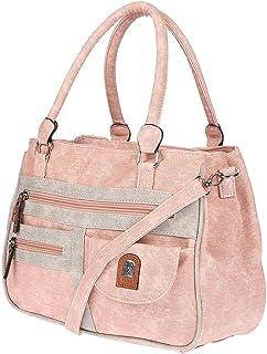 Christian Wippermann große Damen Umhängetasche Tasche Schultertasche in Leder Optik Pink-Grau