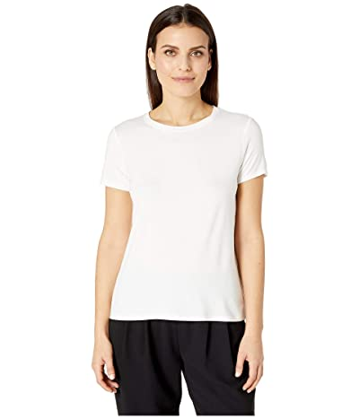 Eileen Fisher Petite Lightweight Viscose Jersey Round Neck Cap Sleeve Tee (White) Women