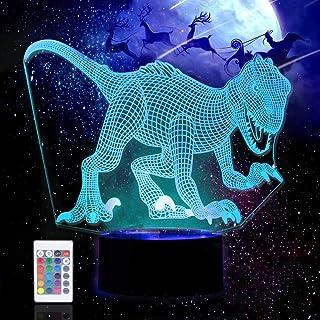 Dinosaurio 3D LED Luz de noche Ilusión óptica Lámpara de mesa Luz iluminación, Lámpara de decoración de 16 colores, lámparas de mesilla Touch Illusion, regalos de Navidad, regalos de cumpleaños