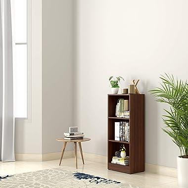 Amazon Brand - Solimo Anubia Engineered Wood Bookcase with 3 Shelves (Walnut)