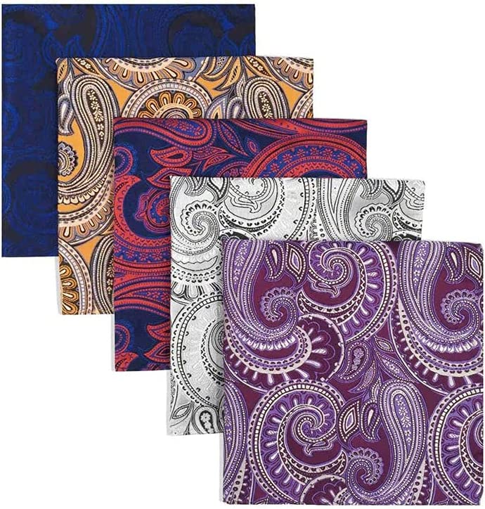 TWDYC 5 Pieces Colorful Assorted Mens Pocket Square Silk Classic Handkerchief Set Gift Colorful (Color : C)