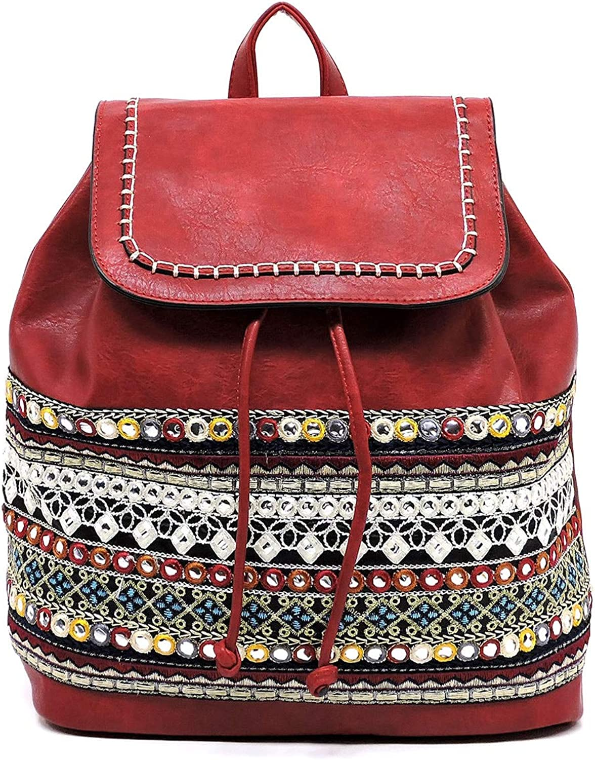 Le Miel Boho Embroidered Medium (11 L x 6 W x 14 H) Backpack- 6 colors